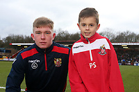 Mark McKee of Stevenage and mascot during Stevenage vs Reading, Emirates FA Cup Football at the Lamex Stadium on 6th January 2018