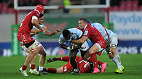 Racing 92 Cedate Gomes Sa is tackled by Scarlets' Hadleigh Parkes<br /> <br /> Photographer Ian Cook/CameraSport<br /> <br /> European Rugby Champions Cup - Scarlets v Racing 92 - Saturday 13th October 2018 - Parc y Scarlets - Llanelli<br /> <br /> World Copyright &copy; 2018 CameraSport. All rights reserved. 43 Linden Ave. Countesthorpe. Leicester. England. LE8 5PG - Tel: +44 (0) 116 277 4147 - admin@camerasport.com - www.camerasport.com