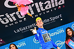 Race leader Simon Yates (GBR) Mitchelton-Scott Maglia Rosa wins Stage 9 and also takes over the Mountains Maglia Azzurra of the 2018 Giro d'Italia, running 225km from Pesco Sannita to Gran Sasso d'Italia (Campo Imperatore), this year's Montagna Pantani, Italy. 13th May 2018.<br /> Picture: LaPresse/Gian Mattia D'Alberto | Cyclefile<br /> <br /> <br /> All photos usage must carry mandatory copyright credit (&copy; Cyclefile | LaPresse/Gian Mattia D'Alberto)