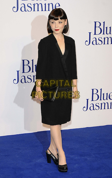 Marama Corlett<br /> The &quot;Blue Jasmine&quot; UK film premiere, Odeon West End cinema, Leicester Square, London, England.<br /> September 17th, 2013<br /> full length black dress clutch bag blazer jacket<br /> CAP/CAN<br /> &copy;Can Nguyen/Capital Pictures