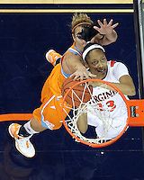 CHARLOTTESVILLE, VA- NOVEMBER 20: Ataira Franklin #23 of the Virginia Cavaliers is defended by Alicia Manning #15 of the Tennessee Lady Volunteers during the game on November 20, 2011 at the John Paul Jones Arena in Charlottesville, Virginia. Virginia defeated Tennessee in overtime 69-64. (Photo by Andrew Shurtleff/Getty Images) *** Local Caption *** Alicia Manning;Ataira Franklin
