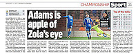 Column image reporting on Barnsley FC v Birmingham City FC in the 'Mail on Sunday', 01/01/17. Full set of images at http://bit.ly/2ipdYdu