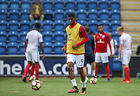 Marcus Rashford (Manchester United) of England warms up before the International EURO U21 QUALIFYING - GROUP 9 match between England U21 and Norway U21 at the Weston Homes Community Stadium, Colchester, England on 6 September 2016. Photo by Andy Rowland / PRiME Media Images.
