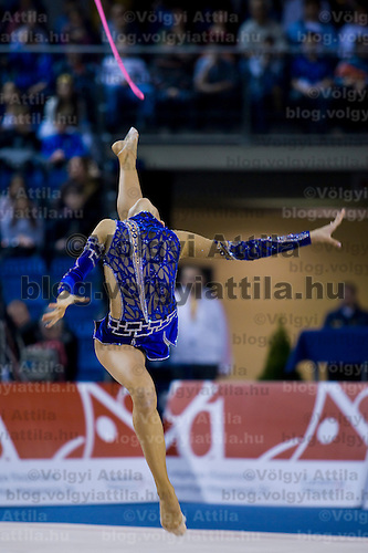 Daria Dmitrieva (RUS) performs with the rope during the final of the 2nd Garantiqa Rythmic Gymnastics World Cup held in Debrecen, Hungary. Sunday, 07. March 2010. ATTILA VOLGYI