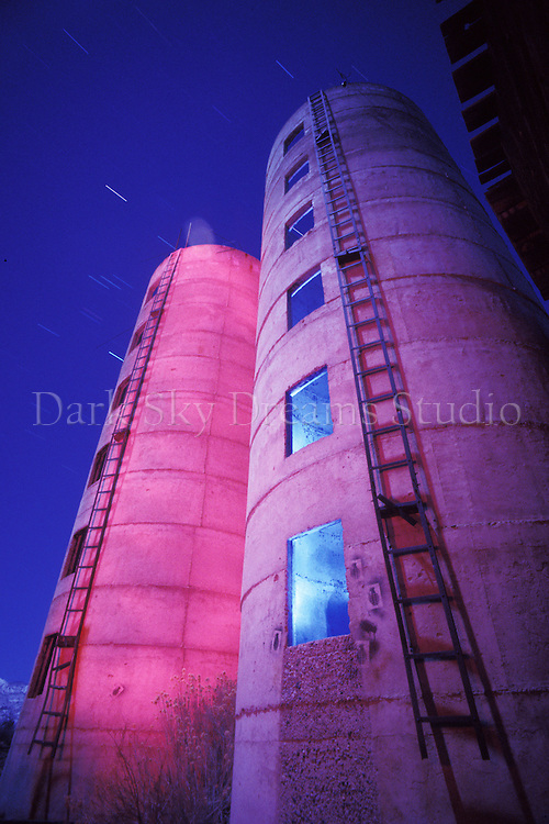 Empty silos at an abandoned farm in Bishop, California