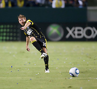 Columbus Crew midfielder Brian Carroll (16) pass a ball during the first half of the game between LA Galaxy and the Columbus Crew at the Home Depot Center in Carson, CA, on September 11, 2010. LA Galaxy 3, Columbus Crew 1.