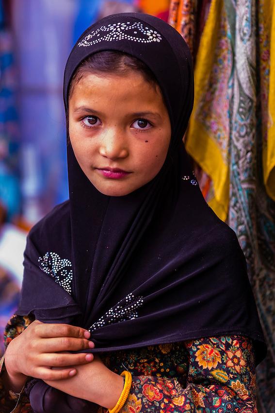 A young muslim girl, Main Bazaar Road, old Leh, Ladakh, Jammu and Kashmir State, India.