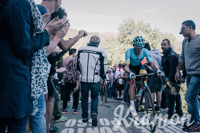 Luis Leon Sanchez (ESP/Astana) up the infamous Muro di Sormano (avg 17%/max 25%)<br /> <br /> Il Lombardia 2017<br /> Bergamo to Como (ITA) 247km