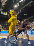 15.05.2018, EWE Arena, Oldenburg, GER, BBL, Playoff, Viertelfinale Spiel 4, EWE Baskets Oldenburg vs ALBA Berlin, im Bild<br /> <br /> Rasid MAHALBASIC (EWE Baskets Oldenburg #24) Armani MOORE (EWE Baskets Oldenburg #4)<br /> Dennis CLIFFORD (ALBA Berlin #42 )<br /> Foto &copy; nordphoto / Rojahn