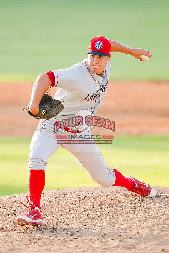 Relief pitcher Jay Johnson #20 of the Lakewood BlueClaws in action against the Kannapolis Intimidators at Fieldcrest Cannon Stadium on July 17, 2011 in Kannapolis, North Carolina.  The BlueClaws defeated the Intimidators 4-3.   (Brian Westerholt / Four Seam Images)