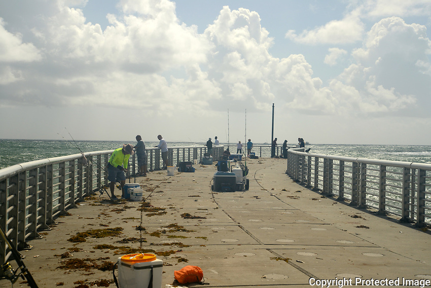 Popular fishing pier located at Boynton Beach Inlet. Many large fish have been caught from the pier, and the best part of fishing at the pier is that there is no fee involved.