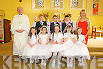 Pupils from Asdee NS who received their First Holy Communion on Saturday in St Marys Church, Asdee, were front l-r: Sarah Spillane, Elaine Keane, Caoimhe Moloney, Leona Sheehy and Molly O'Sullivan. Back l-r: Fr Joseph Tarrant, Hamish O'Carroll, Liam O'Connor, Brendan Keane and teacher Michelle Sheehy.