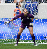 Hope Solo (1) of the USWNT  keeps track of the action during the game at Red Bull Arena in Harrison, NJ.  The USWNT defeated Mexico, 1-0.
