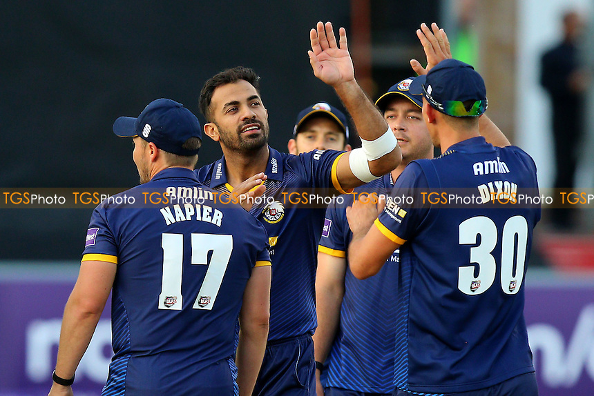 Wahab Riaz (2nd L) of Essex celebrates taking the wicket of Rory Burns during Essex Eagles vs Surrey, Nat West T20 Blast Cricket at the Essex County Ground on 20th May 2016