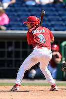 Clearwater Threshers second baseman KC Serna (8) during a game against the Tampa Yankees on April 9, 2014 at Bright House Field in Clearwater, Florida.  Tampa defeated Clearwater 5-3.  (Mike Janes/Four Seam Images)