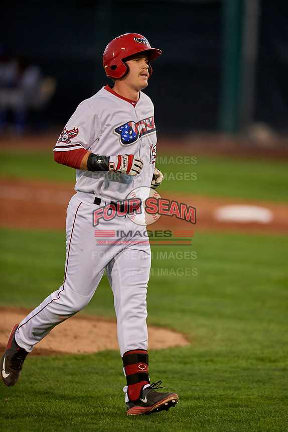 David MacKinnon (19) of the Orem Owlz trots off the field against the Ogden Raptors at Home of the Owlz on September 11, 2017 in Orem, Utah. Ogden defeated Orem 7-3 to win the South Division Championship. (Stephen Smith/Four Seam Images)