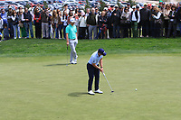 Paul Dunne (IRL) and Nacho Elvira (ESP) on the 4th green during Round 4 of the Open de Espana 2018 at Centro Nacional de Golf on Sunday 15th April 2018.<br /> Picture:  Thos Caffrey / www.golffile.ie<br /> <br /> All photo usage must carry mandatory copyright credit (&copy; Golffile | Thos Caffrey)