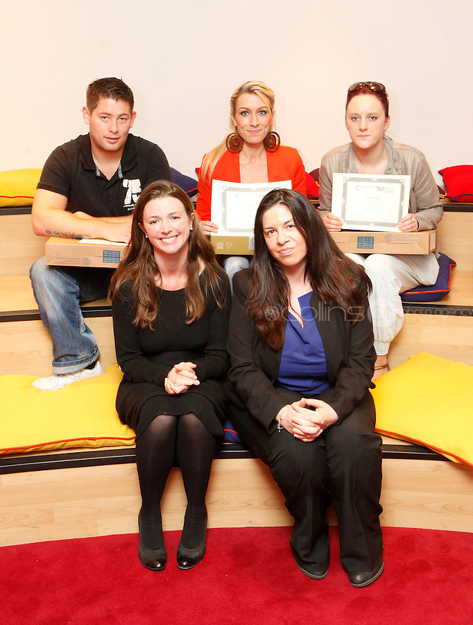 """***NO FEE PIC***.27/09/2011.(L to r) Thomas Larkin from Sherrard St Youthreach centre who recieved 3rd prize for his survey of discrimination in his community,.Lauren Donovan from Sherrard St Youthreach Centre, dublin who won 1st prize for her video montage piece about domestic violence,.Clare King from Kiltimagh who recieved 2nd prize for her piece on Social injustice in the Irish Welfare System .(L to r Back Row ) Cllr Claire O Reagan from DublnCity Council, Tanya Ward Deputy Director ICCL (Irish Council for Civil Liberties.during a """" Your Rights Right  now""""/ Youthreach competition prizegiving award ceremony at the Office of the Ombudsman for Children, Dublin. The competition called on young Youthreach students to express themselves about the important human rights issues affecting their lives..Photo: Gareth Chaney Collins"""