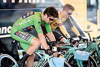 Wout Van Aert (BEL/Jumbo-Visma) & Steven Kruijswijk (NED/Jumbo-Visma) warming up for the TT<br /> <br /> Stage 4 (ITT): Roanne to Roanne (26.1km)<br /> 71st Critérium du Dauphiné 2019 (2.UWT)<br /> <br /> ©kramon
