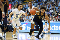 CHAPEL HILL, NC - NOVEMBER 06: Prentiss Hubb #3 of the University of Notre Dame beats Cole Anthony #2 of the University of North Carolina to the ball during a game between Notre Dame and North Carolina at Dean E. Smith Center on November 06, 2019 in Chapel Hill, North Carolina.