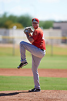 Los Angeles Angels pitcher Grayson Long (40) during an instructional league game against the Oakland Athletics on October 9, 2015 at the Tempe Diablo Stadium Complex in Tempe, Arizona.  (Mike Janes/Four Seam Images)