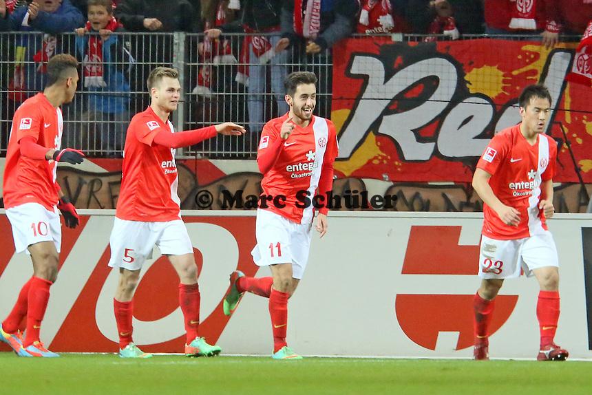 Torjubel um Yunus Malli (Mainz) beim 1:0 - 1. FSV Mainz 05 vs. Hannover 96, Coface Arena, 21. Spieltag
