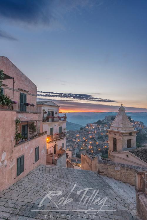 Europe, Italy, Sicily, Ragusa, Looking Down on Ragusa Ibla at Sunrise