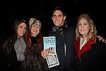 Ilene Zatkin-Butler (r) won a walk on role on Broadway's Rock of Ages and poses with Joanne McInerney (stage manager) and Justin Scribner (production stage manager) and Jane Elissa at the Helen Hayes Theatre, NYC, NY on December 17, 2014 while attending The Jane Elissa Extravaganza 2014 - 19 years - benefiting the Jane Elissa/Charlotte Meyer Endowment Fund which raises revenue that directly supports the research  of the Leukemia/Lymphoma Society. The grant goes to an individual researcher. (Photo by Sue Coflin/Max Photos)