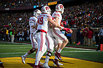 Wisconsin Badgers tight end Troy Fumagalli (81) celebrates a touchdown with teammates during an NCAA College Big Ten Conference football game against the Minnesota Golden Gophers Saturday, November 25, 2017, in Minneapolis, Minnesota. The Badgers won 31-0. (Photo by David Stluka)