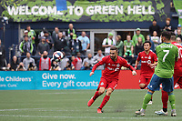 SEATTLE, WA - NOVEMBER 10: Nicolas Benezet #7 of Toronto FC takes a shot during a game between Toronto FC and Seattle Sounders FC at CenturyLink Field on November 10, 2019 in Seattle, Washington.