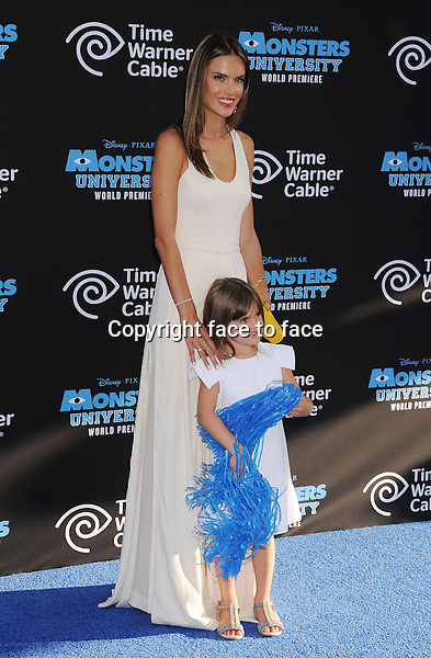 HOLLYWOOD, CA- JUNE 17: Model Alessandra Ambrosio and daughter Anja Louise Ambrosio Mazur attend the world premiere of 'Monsters University' at the El Capitan Theatre on June 17, 2013 in Hollywood, California.<br />