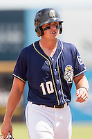 San Antonio Missions designated hitter Hunter Renfroe (10) in action during the Texas League baseball game against the Midland RockHounds on June 28, 2015 at Nelson Wolff Stadium in San Antonio, Texas. The Missions defeated the RockHounds 7-2. (Andrew Woolley/Four Seam Images)