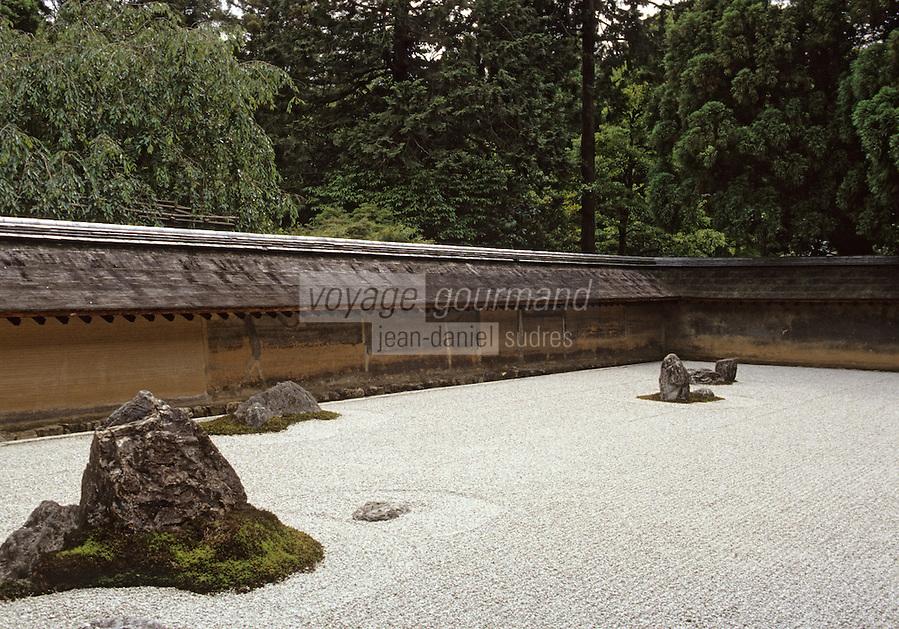 """Asie/Japon/Kyoto: Temple Ryoan-ji - Détail du jardin Zen le """"Kare Sansui"""" chef d'oeuvre de Soami"""