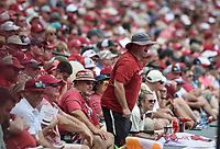 NWA Democrat-Gazette/CHARLIE KAIJO Arkansas Razorbacks fans react during game two of the College Baseball Super Regional, Sunday, June 9, 2019 at Baum-Walker Stadium in Fayetteville. Ole Miss forces a game three with a 13-5 win over the Razorbacks