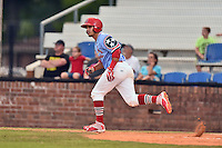 Johnson City Cardinals third baseman Yariel Gonzales (33) runs to first base during a game against the Danville Braves at Howard Johnson Field at Cardinal Park on July 26, 2016 in Johnson City, Tennessee. The Braves defeated the Cardinals 10-8. (Tony Farlow/Four Seam Images)
