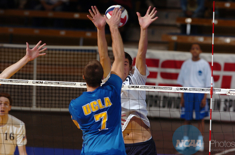 07 MAY 2005:  Jonathan Acosta (7) of UCLA hits a kill over Sean Rooney (12) of Pepperdine during the Division I Men's Volleyball Championship held at Pauley Pavilion on the UCLA campus in Los Angeles, CA.  Pepperdine defeated UCLA 3-2 for the national title.  Matt Brown/NCAA Photos