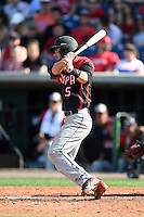 Tampa Spartans second baseman Ty Cooler (5) at bat during an exhibition game against the Philadelphia Phillies on March 1, 2015 at Bright House Field in Clearwater, Florida.  Tampa defeated Philadelphia 6-2.  (Mike Janes/Four Seam Images)
