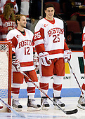 Chris Connolly (BU - 12), Colby Cohen (BU - 25) - The Boston University Terriers defeated the Merrimack College Warriors 6-4 on Saturday, November 14, 2009, at Agganis Arena in Boston, Massachusetts.