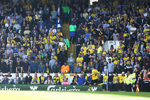April 8th 2017,White Hart Lane, Tottenham, London, England; EPL Premier league football, Tottenham Hotspur versus Watford; Traveling Watford fans look on from the away stand as Tom Cleverley of Watford takes a corner kick