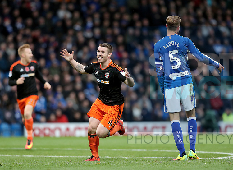 John Fleck of Sheffield Utd  celebrates his goal during the English Football League One match at Proact Stadium, Chesterfield. Picture date: November 13th, 2016. Pic Jamie Tyerman/Sportimage