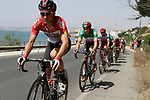 The peloton including Italian National Champion Elia Viviani (ITA) Quick-Step Floors leave the coast after the start of Stage 4 of the La Vuelta 2018, running 162km from Velez-Malaga to Alfacar, Sierra de la Alfaguara, Andalucia, Spain. 28th August 2018.<br /> Picture: Colin Flockton   Cyclefile<br /> <br /> <br /> All photos usage must carry mandatory copyright credit (&copy; Cyclefile   Colin Flockton)