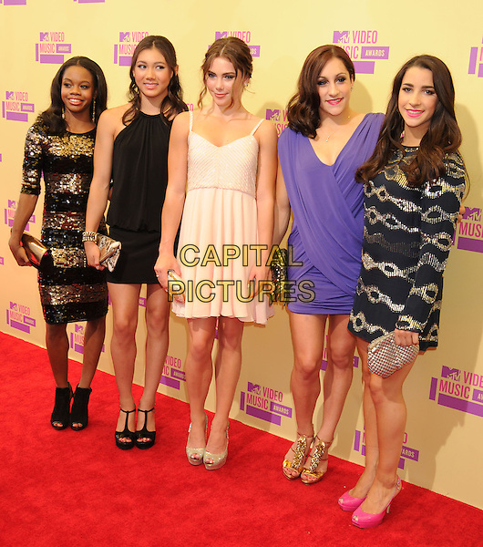 Gabby Douglas, Kyla Ross, McKayla Maroney, Jordyn Wiber, Alexandra Raisman.arriving at the 2012 MTV Video Music Awards at Staples Center in Los Angeles, California, USA, .September 6th, 2012..arrivals vmas vma  full length gold black striped dress sequined sequin purple cream beige .CAP/ROT/TM.©TM/Roth Stock/Capital Pictures