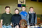L-R Sean O'Connor, Jack Lyne, Jack Moriarty and Keelan Best, at the St Brendans Hurling club, Ardfert, annual awards night in the Ardfert Community Centre last Saturday evening.
