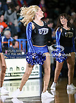 A Texas-Arlington Mavericks dance team member dances during the game between the Lamar University Cardinals and the University of Texas-Arlington Mavericks held at the University of Texas in Arlington's Texas Hall in Arlington, Texas. Lamar defeats UTA 76 to 72