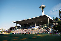 Seattle, Washington - Saturday, July 2nd, 2016: Seattle Reign FC fans during a regular season National Women's Soccer League (NWSL) match between the Seattle Reign FC and the Boston Breakers at Memorial Stadium. Seattle won 2-0.