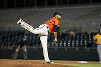 AZL Giants relief pitcher Julio Pena (32) follows through on his delivery against the AZL Athletics on August 5, 2017 at Scottsdale Stadium in Scottsdale, Arizona. AZL Athletics defeated the AZL Giants 2-1. (Zachary Lucy/Four Seam Images)