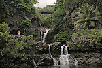 O'heo Gulch Pools, also known as the Seven Sacred Pools, in Hana, Maui. The pools are fed by the Pipiwai stream and features several picturesque water falls. Charles Lindburg's gravesite is also located near the pools.