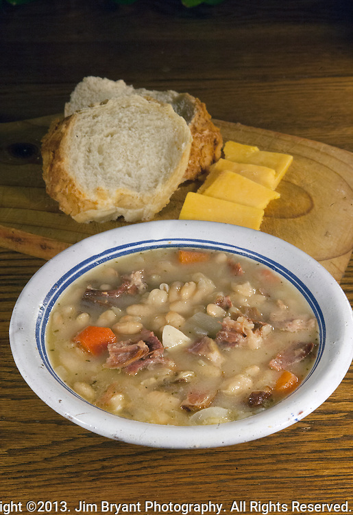 Great Northern Bean Soup with ham, onions, garlic and carrrots. ©2013. Jim Bryant Photo. All Rights Reserved.