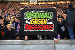 03.11.2018, OLympiastadion, Berlin, GER, DFL, 1.FBL, Hertha BSC VS. RB Leipzig, <br /> DFL  regulations prohibit any use of photographs as image sequences and/or quasi-video<br /> <br /> im Bild Leipziger Fans, Fanblock, Fan mit anti Rassismus Plakat<br /> <br />       <br /> Foto © nordphoto / Engler
