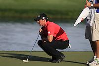 Rory McIlroy (NIR) on the 18th green during Sunday's Final Round of the 2012 Omega Dubai Desert Classic at Emirates Golf Club Majlis Course, Dubai, United Arab Emirates, 12th February 2012(Photo Eoin Clarke/www.golffile.ie)